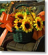 Antique Buggy And Sunflowers Metal Print