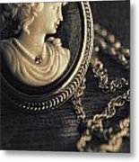 Antique Cameo Medallion On Wood Metal Print