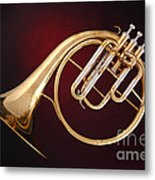 Antique French Horn On Deep Red Metal Print