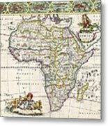 Antique Map Of Africa Metal Print