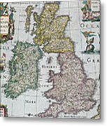 Antique Map Of Britain Metal Print