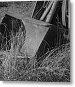 Antique Tractor Bucket In Black And White Metal Print by Jennifer Ancker