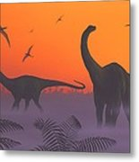 Apatosaur Dinosaurs, Artwork Metal Print