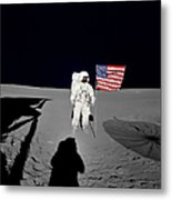 Apollo 14 Astronaut Stands Metal Print