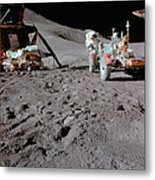 Apollo 15 Astronaut Works At The Lunar Metal Print