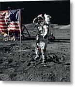 Apollo 17 Astronaut Salutes The United Metal Print