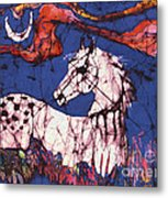 Appaloosa In Flower Field Metal Print