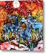 Appaloosas On A Fiery Night Metal Print by Carol Law Conklin