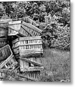 Apple Crate Bw Metal Print by JC Findley