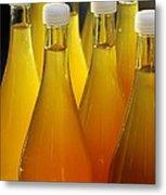 Apple Juice In Bottles Metal Print