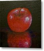 Apple With Reflection Metal Print