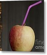 Apple With Straw Metal Print