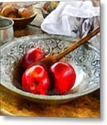 Apples In A Silver Bowl Metal Print