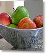 Apples In Fruit Bowl Metal Print