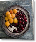 Apricots And Cherries On Silver Tray Metal Print