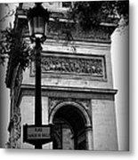 Arc De Triomphe - Black And White Metal Print