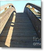 Arched Pedestrian Bridge At Martinez Regional Shoreline Park In Martinez California . 7d10526 Metal Print