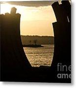 Arcs Sunset Bernar Venet Sculpture Sunset Beach Park Vancouver Bc Canada Metal Print