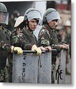 Argentine Marines Dressed In Riot Gear Metal Print