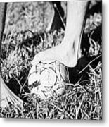 Argentinian Hispanic Men Start A Football Game Barefoot In The Park On Grass Metal Print by Joe Fox