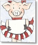 Arkansas Razorback Cheer Piggy Metal Print by Annie Laurie