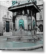 Arles Fountain With A Spot Of Color Metal Print
