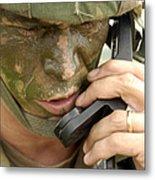 Army Master Sergeant Communicates Metal Print