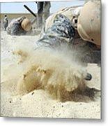 Army Soldier Pulls Himself Metal Print