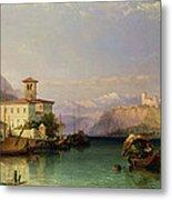 Arona And The Castle Of Angera Lake Maggiore Metal Print