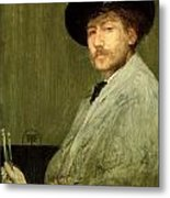 Arrangement In Grey - Portrait Of The Painter Metal Print by James Abbott McNeill Whistler