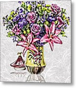 Arrangement In Pink And Purple On Rice Paper Metal Print