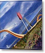 Arrow Through Bay Bridge Metal Print