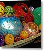 Art Glass Balls In Boat Metal Print