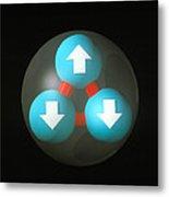 Art Of A Neutron Showing Constituent Quarks Metal Print by Laguna Design