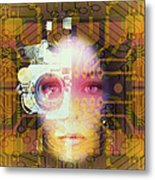 Artificial Intelligence: Face And Circuit Board Metal Print by Mehau Kulyk