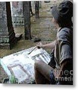 Artist At Ankor Wat Metal Print