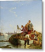 Artist At His Easel And Shipping Beyond Metal Print