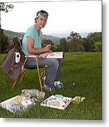 Artist In Action En Plein Air Metal Print