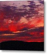 Artistic Sunset Over Hudson River Metal Print