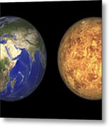Artists Concept Showing Earth And Venus Metal Print by Walter Myers