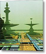 Artwork Of An Alien City On A Circuit Board Metal Print
