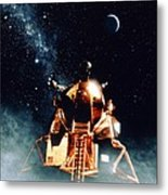 Artwork Of Apollo 11 Lunar Module On The Moon Metal Print
