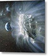 Artwork Of Comet Approaching Earth Metal Print