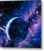 Artwork Of Comets Passing The Earth Metal Print by Joe Tucciarone