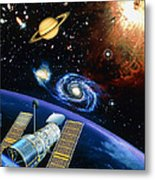 Artwork Of Hubble Space Telescope Over Earth Metal Print