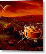Artwork Of Huygens Probe On The Surface Of Titan Metal Print