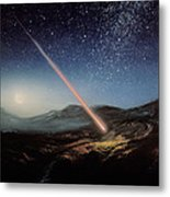 Artwork Of Meteorite Hitting The Ground Metal Print