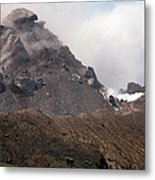 Ash And Gas Rising From Lava Dome Metal Print by Richard Roscoe