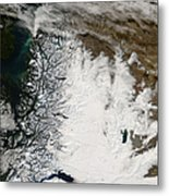Ash Plume From Chaiten Volcano And Snow Metal Print