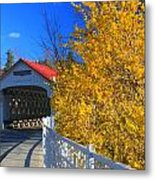 Ashuelot Covered Bridge And Forsythia Metal Print